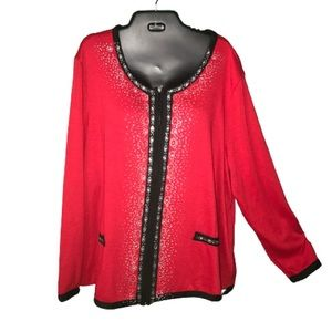 NWT Embroidered Red Valentine Sweater Jacket 2XL